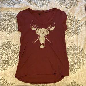 Maroon Volcom v-neck t-shirt